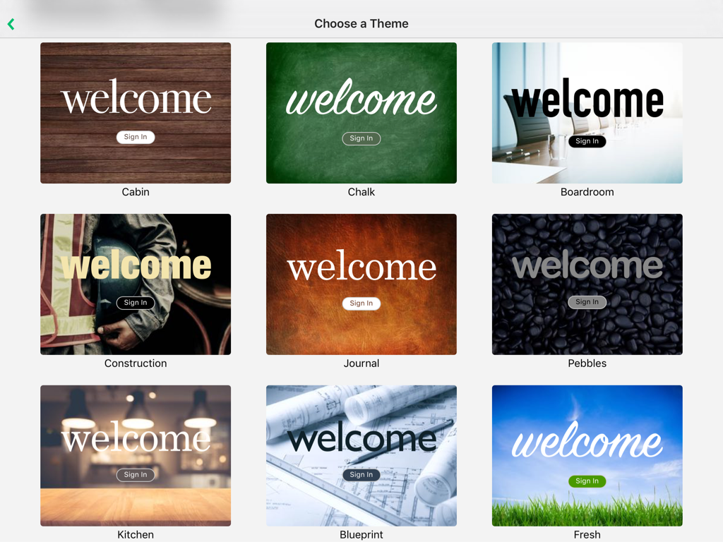 iPad screenshot showing welcome themes.
